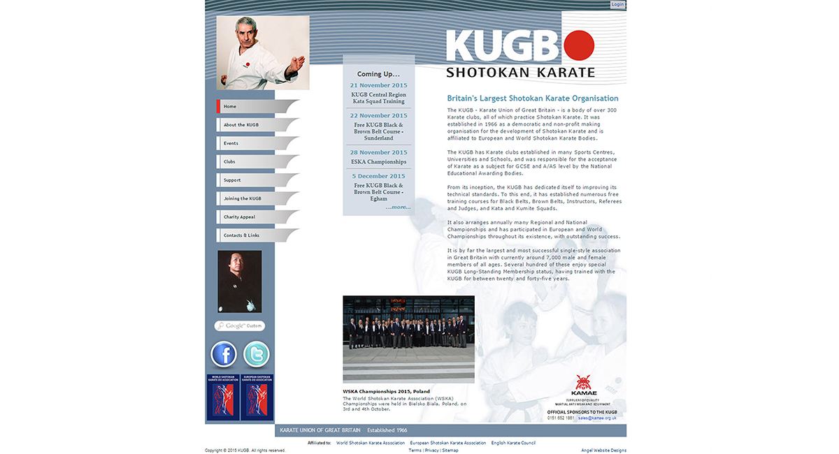 KUGB Karate Union of Great Britain - redesign currently in progress